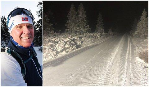 KLART FOR NY SESONG: Slik så det ut på fjellvegen innenfor Nordseter etter at det ble bunnpreparert sent mandag kveld. - Får vi snøen som er varslet, blir det skiforhold til helga, sier Nils Holtlien Bakke i Lillehammerfjellet Tur- og Løypeselskap.