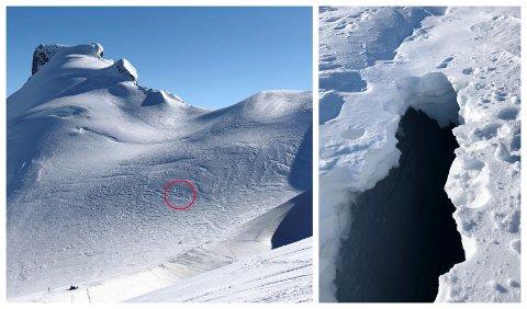 STOR SPREKK: Kjell Ola Haugen fann ein større sprekk opp mot Storebjørn på breen der han aldri har sett ein sprekk vinterstid før. Den sprekken til høgre i bildekollasjen er omtrent der den raude ringen på bildet til venstre er. Dette er midt i ruta som mange bruker oppover mot Storebjørn.