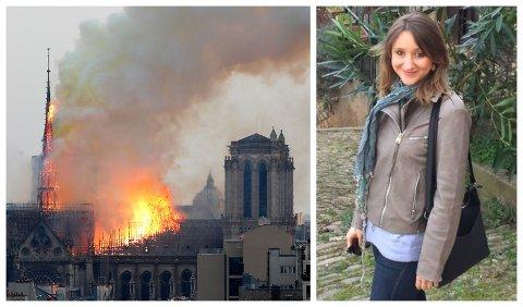 Tykk røyk stiger opp fra Notre-Dame-katedralen i Paris der en voldsom brann brøt ut mandag kveld. Lina-Marie Bratberg Leulier fra Biristrand sier alle hennes franske venner er preget av brannkatastrofen.
