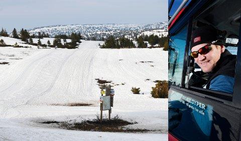NYKJØRT: Det er fortsatt vinter i fjellet. Jo Stenersen i Øyer Turskiløyper kan by på nykjørt løype i Hornsjørunden. Slik så det ut ved Pellestova fredag.
