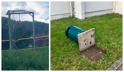 Fotballmål var satt opp ned på fotballbana og søppeldunker var veltet. Det var noe av hærverket som skjedde på Åretta ungdomsskole i løpet av helgen.