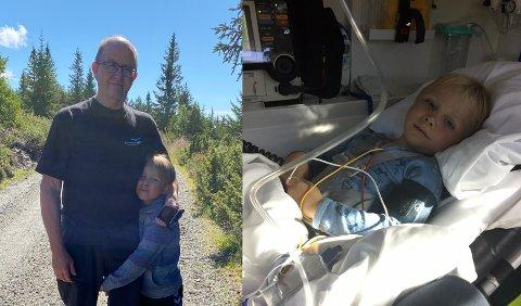 PÅ HYTTA: Roy Sannes og barnebarnet Aron er ofte på hytta på Kvamsfjellet. For to år siden måtte Aron haste til sykehuset med ambulanse, etter at han fikk akutte pusteproblemer.