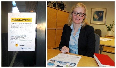 SMITTEVERN: Ane Kaurstad leder arbeidet for pandemiplanen for divisjonen Gjøvik/Lillehammer ved Sykehuset Innlandet. Oppslaget til venstre i bildet, er hengt opp ved inngangsdøra til Lillehammer sykehus.