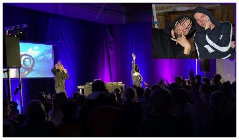 MINIKONSERT: Rapperen Mads Veslelia (28) fra Hønefoss entret scenen sammen med sin chipman og DJ Simen Kristensen til stor jubel fra salen.