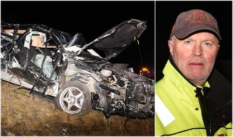 Rune Taaje rykket ut til elgpåkjørsel, og ble møtt av blant annet denne totalvrakede bilen.