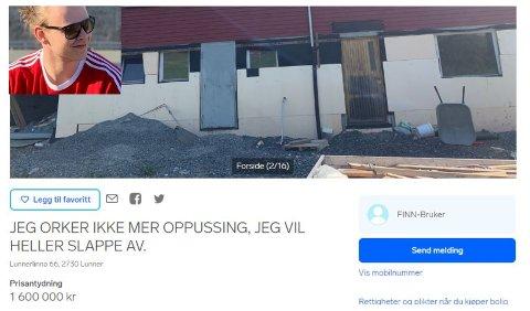 DRITT LEI: Daniel Nilsson Klevengen har lagt ut denne annonsen på finn.no etter at han ga opp restaureringsprosjektet.