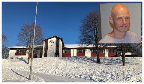 ÅPNER IGJEN: Jaren skole åpner for undervisning onsdag. Kommuneoverlege i Lunner, Bjarne Oure (innfelt) sier vi må vente til prøvene som tas på fredag for å være sikre på at det ikke er flere smittetilfeller knyttet til det pågående utbruddet i Gran.