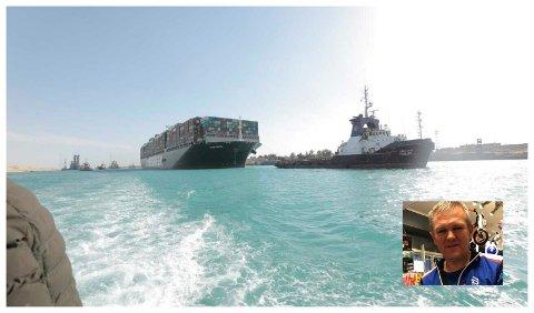 SUEZ: Det grunnstøtte skipet i Suezkanalen skaper problemer for mange, inkludert Asbjørn Kvåle (bildet innfelt) ved Intersport Brandbu.