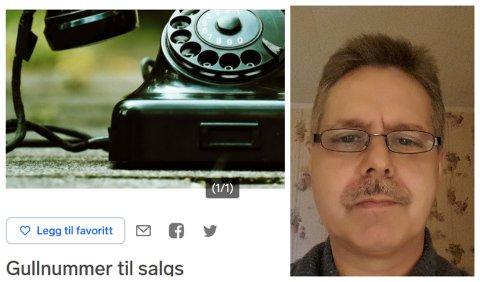 SELGER: Geir Jahnsen fra Gran selger sitt telefonnummer på Finn.no fordi han trenger litt ekstra penger i en tøff tid.