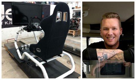 SOSIALT: Jonas Andrè Bekken har tilbrakt mange timer i denne stolen. Nå går han for oppgradering og salg av stolen på Finn.no.