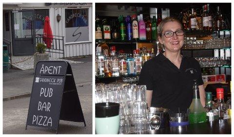 ENDELIG: Hilde Sangnæs er glad for at hun endelig kan ønske gjester velkommen til Sandbeck pub i Brandbu. Puben åpner dørene igjen etter at de stengte i november i fjor på grunn av pandemien.