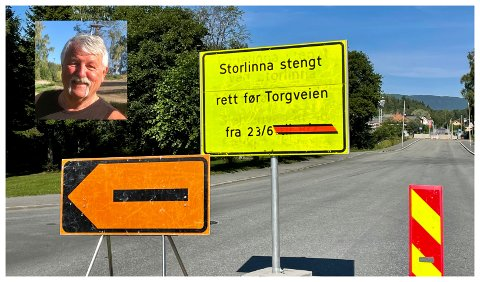 STENGT: Kjell Arne Stubberud (bildet innfelt) er redd turistene som vil besøke Brandbu snur når de møter skilt om stengt hovedgate.