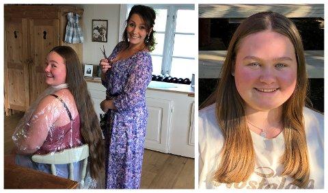 VI TAR DET: Pauline Hoel Sandsengen og frisør Silje Agnethe Jøleid-Skari blir enige om å klippe av det lange håret. Nå har Pauline «kort» hår for første gang på veldig lenge.