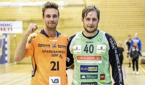Hyggelig gjensyn: Lars Jakobsen (t.v.) og Rasmus Bech var tilbake i Remmenhallen sammen, men på hvert sitt lag. Lars Jakobsen scoret fire ganger på kompisen, men Rasmus Bech reddet vesentlig flere forsøk fra sin danske kollega.
