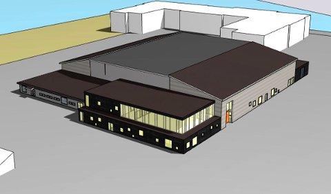 Nye tegninger av Tistedalshallen viser at det er planlagt flatt tak i midten, og skråtak på to sider.