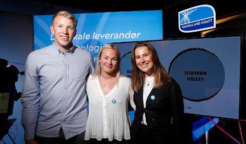 Vinnerne: Jørgen Dybdahl (25), Gina Møller (26), Julie Sophie Wik (23)  fra Haugaland Kraft stakk av med seieren i årets Sildikon Valley.