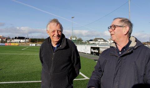LIKER FRIIDRETT: Kåre Sveinall (t.v.) og Per Inge Eriksen var begge i sin tid trenere i friidrettsgruppa i Åkra IL. Nå konstaterer de at friidretten er radert ut på det meste av Karmøy.