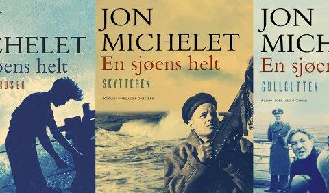 Blir tv-serie: Fire bøker er hittil utkommet i Jon Michelets «En sjøens helt»-serie. – Jeg treffer sjøfartsnasjonen Norge, har Michelet uttalt til NTB. Nå kan det store krigsseilereposet bli tv-serie. Foto: Oktober forlag