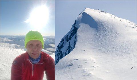 Bildet til venstre tok Sture Ånes (53) da han var på toppen av Lukttinden forrige onsdag. På vei ned falt han, og skadet seg. Bildet til høyre er et arkivbilde av fjelltoppen fra 2016.
