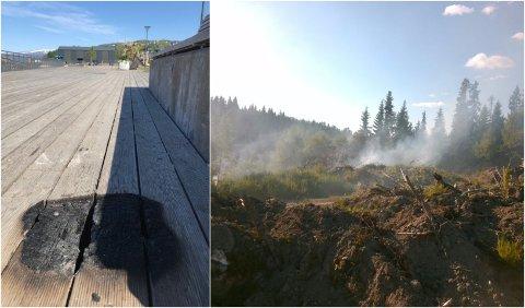Det er nå stor brannfare i Vefsn og Grane. Bildet til venstre viser svimerket etter en engangsgrill på bystranda i Mosjøen. Bildet til høyre viser skogbrannen som brannvesenet måtte rykke ut til søndag kveld.