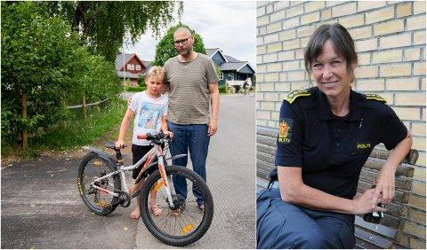 Fritjof Nesheim Mikalsen og pappa Øystein Nesheim avbildet i gata der førstnevnte falt av sykkelen fordi noen hadde løsnet forhjulet. Lisbeth Aarvik, sjef på politistasjonen i Mosjøen, reagerer på hendelsen, og ber foreldre ta en prat med barna sine om hvor alvorlig det kan være.