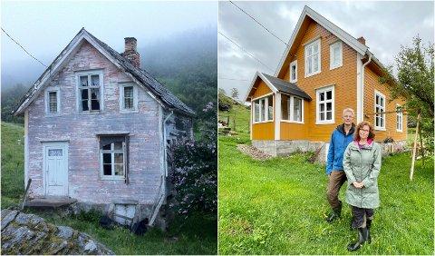 FØR OG NÅ: Svein Bergvik, førsteamanuensis i psykologi og Marit Aure, professor i sosiologi ved Universitetet i Tromsø har pusset opp dette huset på Dyrøya.