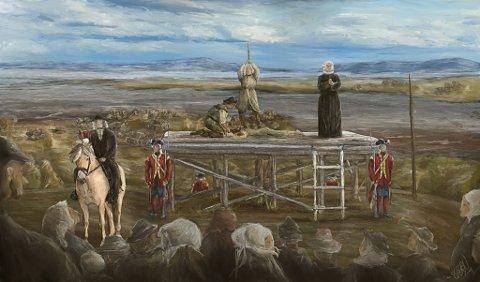 HENRETTET: Margrethe Madsdatter (28) var den siste som ble henrettet på det som en gang var Galgebakken i Vadsø. Dette er en illustrasjon over hvordan det kunne sett ut i området i 1755 . Når det var henrettelser, møtte hele byen opp for å få det med seg. Også barn var tilstede. Fogden pleide ofte sitte på hesten med ryggen til, mens presten snudde seg vekk og fortsatte på fadervår da halshuggingen skulle skje.