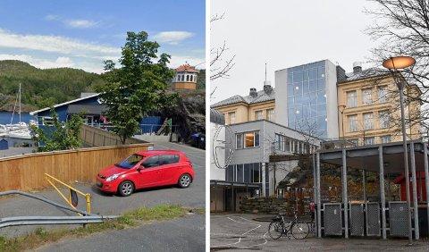 To av tre smittetilfeller er tilknyttet henholdsvis Rømerverven barnehage (t.v.) og Kragerø skole.