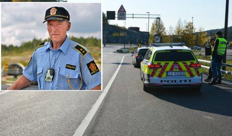 Luker ut: Harald Husum, politioverbetjent i Utrykningspolitiet, er blant dem som har som jobb å avdekke ruskjøring. Bare i fjor stoppet hans patrulje over 100 rusede førere i Buskerud. Han tror flere vil bli tatt i 2021 på grunn av bedre utstyr.