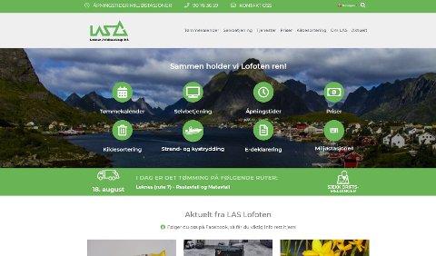 Slik ser det ekte nettstedet til Lofoten avfallsselskap, las-lofoten.no, ut.