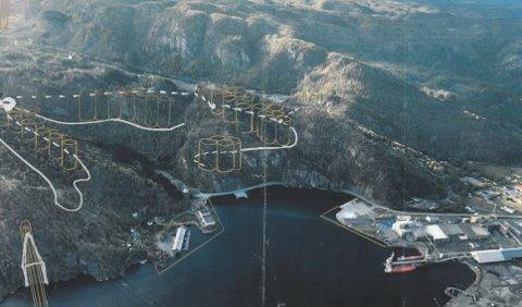 I FJELLET: Tanken er å bygge hydrogenfabrikken i fjellet mellom smelteverket på Øye og Leirvik ved Fredafjorden og Raustad.