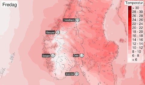 VÆRVINNER: Grafikken fra meteorologene er ikke til å ta feil av. Fredagen blir fin for Trondheim.
