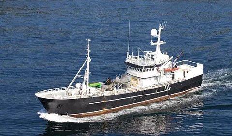 """""""Ringaskjær"""" er en 42 meter lang fisketransportbåt, bygd i 1966. Det ble bygd om fra ringnotfartøy i 2012."""