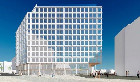 NYTT HOTELL: Slik ser man for seg det nye hotellet. Byggeplanene skal også bidra til et nytt gatetun, som skal gjøre Søren Fløttmannsplass mer attraktiv for gående.