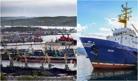 Murmansk havn og tråleren Obeljaj.