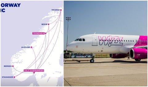 NYE RUTER: Det ungarske lavprisselskapet Wizz Air lanserte forrige uke ti nye innenriksruter i Norge.