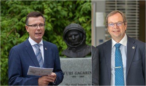 Dag Rune Olsen (til venstre), rektor ved Universitetet i Bergen og Kenneth Ruud, prorektor ved UiT.
