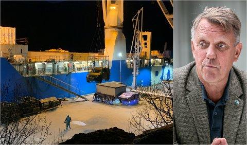 Det nederlandske forsvaret laster av militært materiell ved kaien på Olavsvern tidligere i januar. Ordfører Gunnar Wilhelmsen eier nå drøyt 30 prosent i basen og kan tjene gode penger på økt militær aktivitet her.
