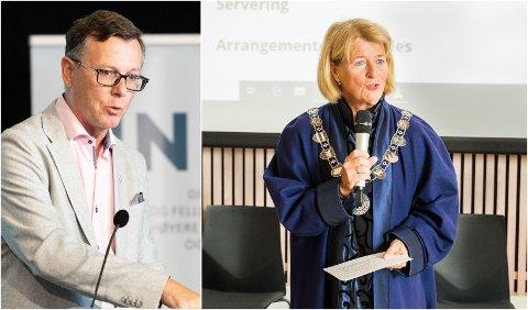 I HARDT VÆR: Dag Rune Olsen, påtroppende rektor ved UiT og Anne Husebekk, avtroppende rektor ved UiT.