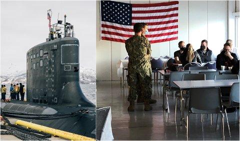 MAT OG SØVN: Mannskapet fra USS New Mexico har hengt opp det amerikanske flagget på Olavsvern.