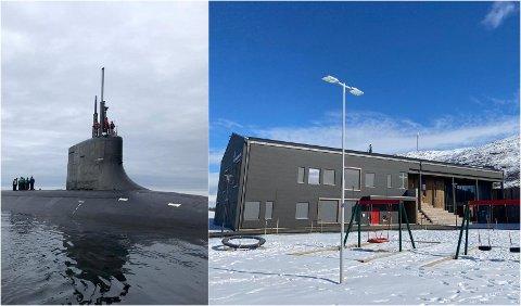 ATOMUBÅTER: Dette bildet viser en amerikansk atomubåt i åpent hav få kilometer fra Brensholmen skole i august 2020.