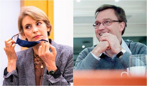 Fra venstre: Kari Elisabeth Kaski, finanspolitisk talsperson i SV og investor og bedriftseier Kristian Adolfsen.