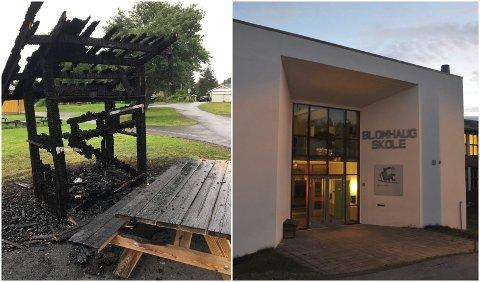 Det har vært mye forsøpling ved Blomhaug skole i sommer. I går fikk politiet melding om at et søppelskur var påtent.
