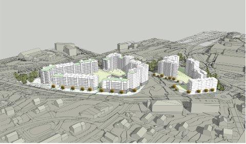 SKISSE: Områdeplanen åpner for bebyggelse i 6 til 10 etasje. Planskissen er utarbeidet som illustrasjon for utnyttelse, høyder og solforhold.