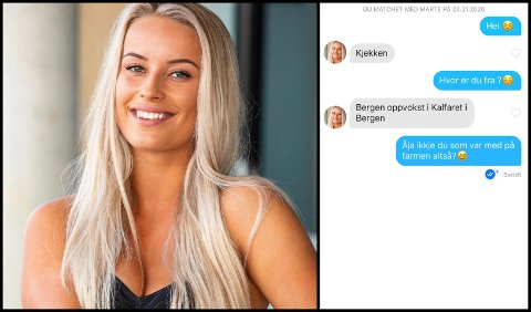 Dette bildet av Marte Flobergseter var et av flere av hennes bilder som ble misbrukt på Tinder. Til høyre: Skjermdump av chatten mellom Flobergseters instagramfølger og kvinnen fra Bergen.