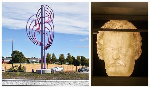 ØNSKET OG UØNSKET: Et ti meter høyt kunstverk er blikkfang i rundkjøringa i det nye Brennerikrysset i Løten, mens den tre meter høye Munch-maska er uønsket ved riksveg 3.