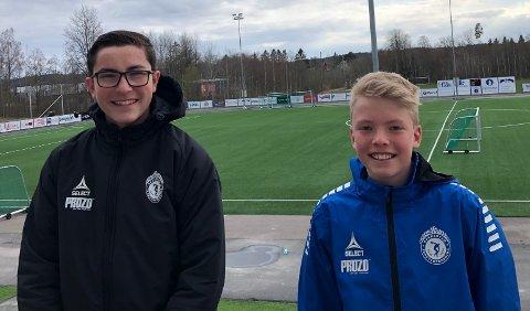 ETTERLENGTET: Mathias Isebakke (14), Sondre Ødegård Kjellsen (15) er glad for at det er åpnet opp for nærkontakt på trening.