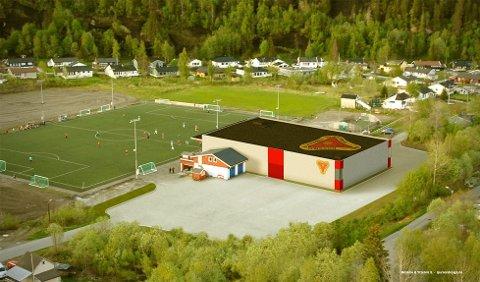 Slik vil Ytteren stadion se ut om det blir bygget en ny flerbrukshall som en del av dagens idrettshus. Illustrasjon: Sjursen Design