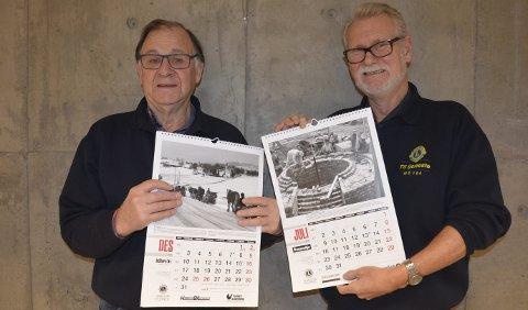 Gode form\ål: Francis Bull Enger og Nils Arild Berge håper mange vil støtte Lions sitt arbeid gjennom å kjøpe kalender.Jeanette Sandbæk Håland