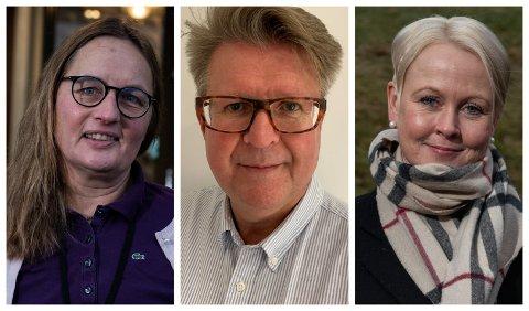 KOMMUNEOVERLEGENE: Karin Møller i Ringerike, Rolf Qvernheim i Hole og Marthe Bergli i Jevnaker.